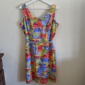 Coldwater Creek Watercolor Sleeveless Dress 12
